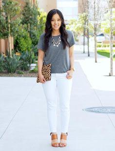 Grey shirt, white jeans