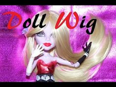 How to make a wig for your dolls (Monster High, Ever After High, Barbie, etc) I'm using synthetic hair (nylon) for this tutorial. Synthetic dolls hair (such . Doll Wigs, Doll Hair, Ooak Dolls, Barbie Dolls, Wig Making, Head Accessories, Hair Blog, Diy Doll, Fashion Fabric