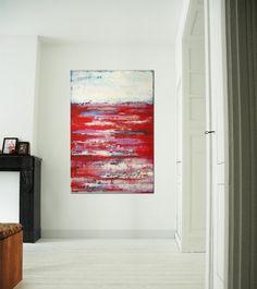 Large Abstract Schilderij RED long distance 315 door RonaldHunter, $319.00