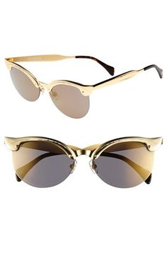 $199, Crybaby Deluxe 57mm Sunglasses Gold One Size by Wildfox. Sold by Nordstrom. Click for more info: https://lookastic.com/women/shop_items/53466/redirect