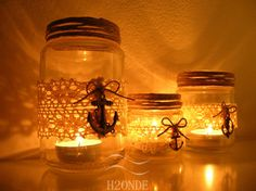 Candle holder shabby chic twine anchor jar gift decor by H2ONDE 24,50 € https://www.etsy.com/it/shop/h2onde https://www.facebook.com/h2onde