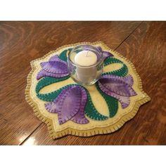 Wool Felt Candle Mat Patterns | Spring Purple Tulip Blooms Wool Felt Candle Mat by all4fiberarts