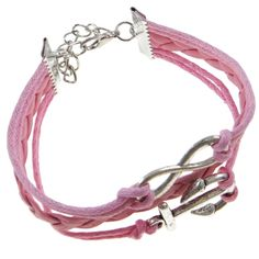 Pink Nautical Marine Ocean Anchor Three Band Leather Bracelet $8.50