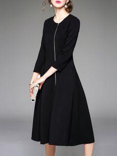 Shop Midi Dresses - Black A-line Crew Neck Plain Simple Midi Dress online. Discover unique designers fashion at StyleWe.com.