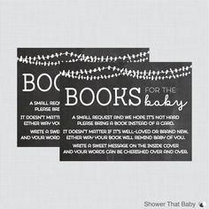 Printable Baby Shower Bring a Book Instead of a Card Invitation Inserts in Chalkboard Design    Help build the new babys library by requesting