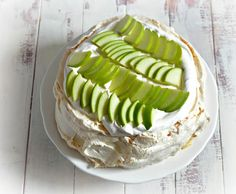 In this Pavlova, three of the traditional Rosh Hashanah foods come together in a way that is sure to impress. The airy meringue shell is filled with honey-vanilla cream, topped with green apples and drizzled with pomegranate coulis. Kosher Desserts, Non Dairy Desserts, Kosher Recipes, Cooking Recipes, Pavlova, Holiday Recipes, Holiday Foods, Holiday Ideas