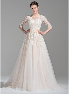 My favorite thus far...  A-Line/Princess V-neck Court Train Tulle Wedding Dress With Beading Appliques Lace Sequins Bow(s)