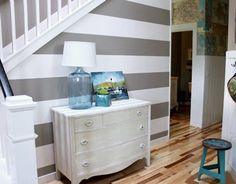 White Wall Stripes Removabl Decal Sticker Repositionable Interior Home Room Stripe Designs Wall Stripe Murals, 6 Inch Wide Wall Stripes, Vinyl Wallpaper, Striped Wallpaper For Walls, Painting Stripes On Walls, Paint Stripes, Wall Stripes, Grey Stripes, Striped Room, Striped Walls, White Walls