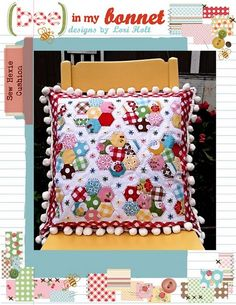 Quilted Hexagon pillow - with my ever-favorite dingle berries. In my house, if you see dingleberries, you can be sure I made it myself.
