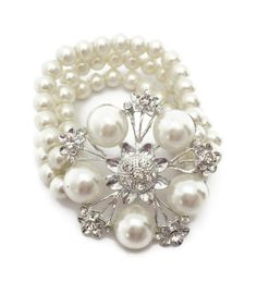 Bridal 3 Row Pearl Bead Crystal Bracelet Adjustable Fit Flower Design Prom