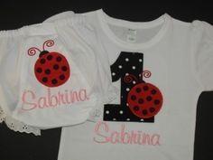 Custom Ladybug Birthday Shirt and Matching by browniesnbutterflies, $29.99