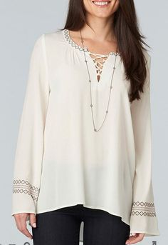 BOHO Tunic DEMOCRACY Plus size Embroidered Lace Up Crepe Top 1X Off-White NWT #Democracy #Tunic #Casual