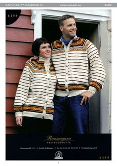 R6159-R6159 Vestfoldkofte, Rauma-garn Norwegian Knitting, Handicraft, Color Combinations, Knit Crochet, Knitting Patterns, Arts And Crafts, Couple, Crafty, Colour