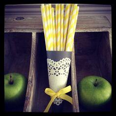 Paper straws £2.50 per 20. Heart shaped paper doily in cream