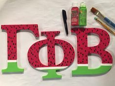 gamma phi beta sorority wooden greek letters watermelon summer