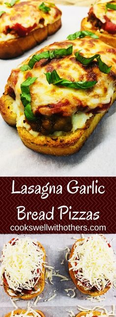 Lasagna Garlic Bread Pizzas - Cooks Well With Others Garlic Bread Pizza, My Favorite Food, Favorite Recipes, Salsa, Healthy Dinner Recipes, Meat Recipes, Recipies, How To Cook Sausage, C'est Bon