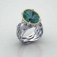 Custom Designed platinum ring with blue green tourmaline center stone