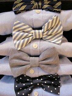 have bow ties matching opposite color of brides maid dresses