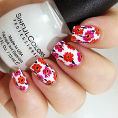 You only need to choose some contrasting nail polish. Flower nail designs are perfect for Teen Girls. There are many choices of flower nail designs for you. Coral Nail Polish, Coral Nails, Nails Polish, Pastel Nails, White Nails, Flower Nail Designs, Flower Nail Art, Nail Designs Spring, Cool Nail Designs