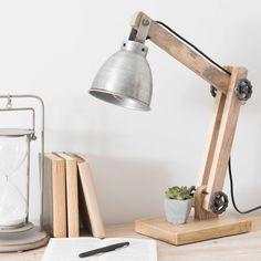 Lampe de bureau orientable en bois et métal H 53 cm DOCKLAND | Maisons du Monde