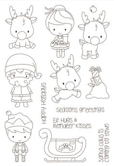 Look what I found on AliExpress Christmas Coloring Pages, Coloring Book Pages, Christmas Colors, Christmas Art, Diy Scrapbook, Scrapbooking, Black And White Art Drawing, Tampons Transparents, Cheap Stamps