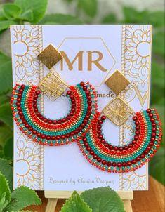 Beaded Earrings, Earrings Handmade, Beaded Jewelry, Crochet Earrings, Handmade Jewelry, Bead Embroidery Jewelry, Beaded Embroidery, Earring Tutorial, Shell Jewelry