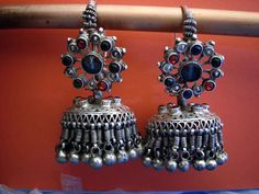 These Afghan traditional silver earrings with crystal