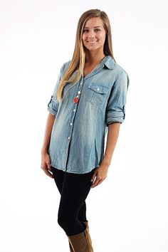 Blue Jean Baby Top, light $42 www.themintjulepboutique.com | I love this top... I just need help figuring out *how* to wear it! =)