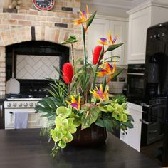 A beautiful Demmerys artificial flower arrangement can make all the difference to the ambiance within any room, giving a vibrant and energetic mood that fills the whole room with colour and life! Tropical Flower Arrangements, Flower Arrangement Designs, Artificial Flower Arrangements, Silk Flower Arrangements, Tropical Artificial Flowers, Artificial Silk Flowers, Exotic Flowers, Tropical Flowers, Orchid Plants