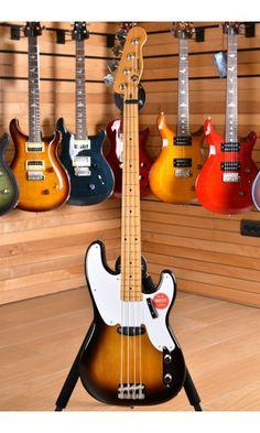 Squier (by Fender) Classic Vibe Precision Bass Maple Neck 2 Color Sunburst Fender Jazz Bass, Bass Guitars, Fender Squire, Fender Precision Bass, Fender American, 2 Colours, Instruments, Building, Classic