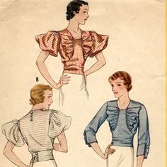1930s blouse pattern in 3 styles  McCall 7371 by PatternVault