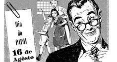 """Afeto material. Anúncio da Casas Barkí trata da homenagem àqueles """"que fizeram, fazem e farão de tudo pelos filhos"""". Dia dos Pais era comemorado no dia 16/08, Dia de São Joaquim  ACERVO O GLOBO 10/08/1953"""