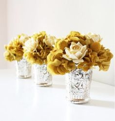 mercury glass and mustard flowers. Mercury Glass Centerpiece, Gold Centerpieces, Centrepieces, Reunion Centerpieces, Succulent Centerpieces, Mustard Flowers, Yellow Flowers, Gold Flowers, Yellow Bouquets