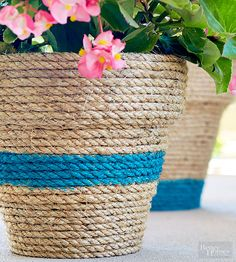 Sisal Rope dresses up a plastic pot. A little rope, hot glue and paint and voila!... you have a pretty pot with great texture!