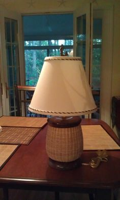 Nantucket basket lamp with walnut accents. Woven in the traditional style by me.
