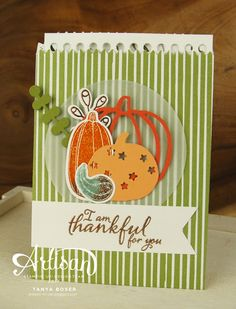 Pick a Pumpkin with Patterned Pumpkins die, Count My Blessings & Painted Harvest stamp sets also. Theses Mini Treat Bags are created with supplies all from Stampin' Up! ~ Love the ability to make these autumn, Halloween, or Thanksgiving themed! There are jack-o-lantern faces in the set also! ~ Tanya Boser for the Stamp Review Crew