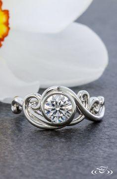 Platinum Swirly Wrap Engagement Ring. Green Lake Jewelry 108166