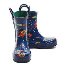 Pluie Pluie Blue Outerspace Rocket Toddler Little Boys Rain Boots 5-2 Pluie Pluie. $36.99