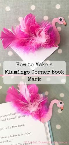 How to Make a Flamingo Corner Book Mark and Other Ideas - Blissful Domestication - arty farty - origami Paper Crafts For Kids, Book Crafts, Diy For Kids, Kid Crafts, Homemade Bookmarks, Homemade Books, Bookmarks Kids, Corner Bookmarks, Flamingo Craft
