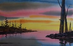 "Watercolors by Jim Oberst Blog - Muskeg Sunset - 15 x 22"" watercolor painting - $250 including US shipping."