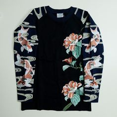 Japanese Japan Embroidery Koi Carp Fish Floral Flower Flowers Embroidered Wagara Shirt - Japan Lover Me Store