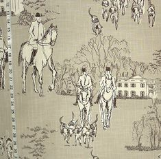 Horse hunt fabric grey equestrian toile