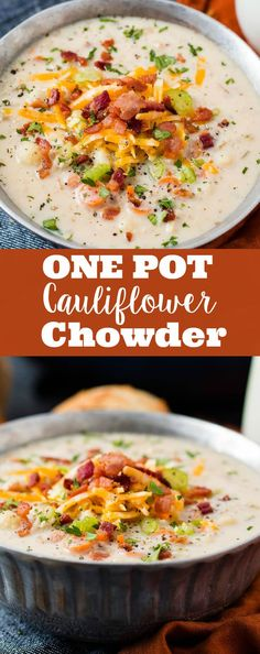 One Pot Cauliflower Chowder via @ohsweetbasil