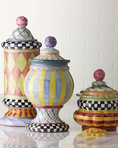 """MacKenzie-Childs """"Odd Fellows"""" & """"Piccadilly"""" Canisters"""