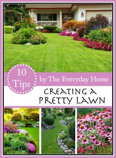 "No matter what size lawn you have, using these 10-Ways to Creating a Pretty Lawn will help you be on your way to receiving the ""Yard of the Month."""