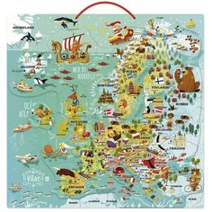 Magnetyczna mapa Europy puzzle edukacyjne dla 7 latka, Vilac Map Puzzle, Pictorial Maps, Europe, Illustrations, Gifts For Kids, Kids Room, Diagram, How To Plan, Prints