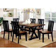 Furniture Of America Lara Farmhouse Style 7 Piece Two Tone Antique Oak Black Dining Set Size Sets