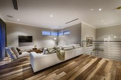 [Architecture] : Modern Living Room Design With Teak Wood Parquet Design Plus Big White Sofa With Big Chusions As Long As Big Screen Of Led Tv In Living Room Modern, Living Room Designs, Living Rooms, Living Spaces, Master Suite, Tv Stand Furniture, Arch House, Storey Homes, Large Bathrooms
