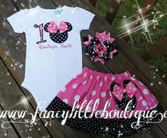 Minnie mouse outfit black and pink dots by Fancylittleboutique