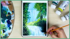 How to Paint a Waterfall with Acrylic Paint for Beginners // This is a super easy painting tutorial where I show you not only how to paint the water & the waterfall, but also how to paint the forest & the trees around it! I hope you like this step by step painting for beginners!